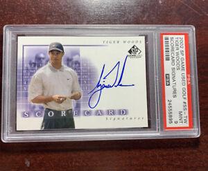 2002 SP Game Used Golf Scorecard Tiger Woods Auto On card PSA 9 Mint PMJS