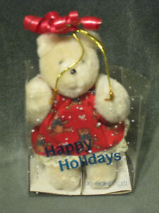 """EDEN HAPPY HOLIDAYS BEAR IN RED TEDDY HEART DRESS GIFT BAG 4.5"""" 1989"""