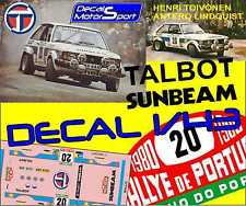 Decal 1/43 Talbot Sunbeam H. Toivonen - A. Lindqvist Rally Portugal 1980