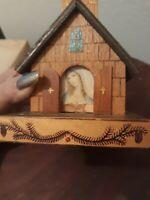 Vtg Wooden Church Music Box Plays Switzerland Glocken Religious Christmas Decor