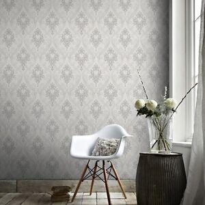 Royal Grey & White Wallpaper Per Roll