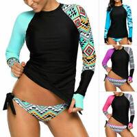 Women Swim Long Sleeve Rash Guard Printed Side Ties Color Block Tankini Swimsuit