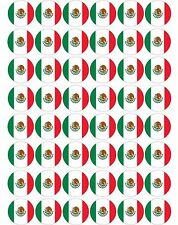48 x Mexico / Mexican Flags Pre Cut Cupcake Toppers Premium Sugar Icing Sheet
