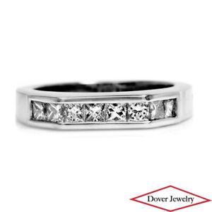 Estate Princess Cut Diamond 18K Gold Elegant Symmetric Band Ring 7.1 Grams NR