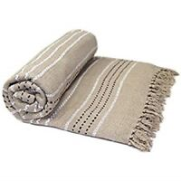 Luxury Stitched Stripe Blanket Throw 100% Cotton Sofa Throw Bed Tasselled