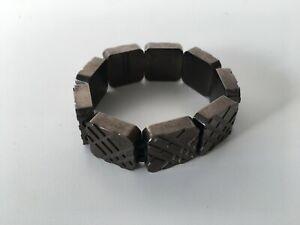 Vintage Burberry London Check Checked Cube Bracelet Gunmetal Handbag Trenchcoat