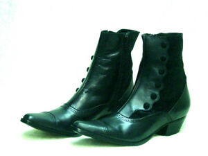Victorian style faux Button cowgirl zipper style boots leather velvet uppers 7.5