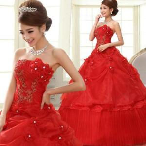 Floral Cheap Red Wedding Ball Gown Strapless Elegant Bride Frock Dress Women red