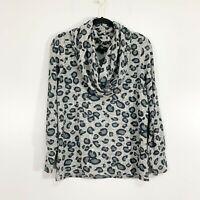 Gibson Cozy Fleece Convertible Neck Leopard Sweater, NWT, Size S