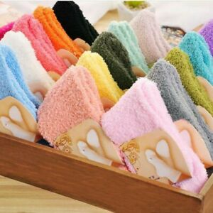 kawaii Women Girls Fluffy Socks Thick Warm Winter Sock Plush Solid Color Hosiery