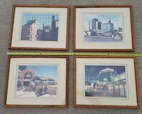 SET/LOT OF 4 1980's Downtown Toledo OHIO SKYLINE FRAMED PHOTO Portside Mall ART