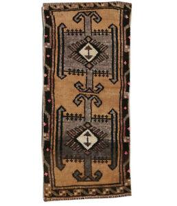 1x3 Turkish Rug Oriental Vintage Hand Knotted Geometric Traditional Area Rug