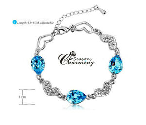 925 Sterling Silver Sparkling Cubic Blue Heart Crystal Chain Bracelet RRP:$89