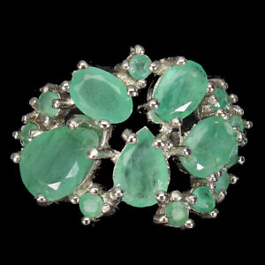 Unheated Oval Emerald 8x6mm 14K White Gold Plate 925 Sterling Silver Ring Size 7