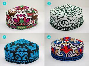 Adult size Uzbek Hat silk embroidery bohemian Muslims Kufi Cap Suzani Doppi
