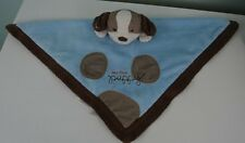 Carter's My First Puppy Lovey Security Blanket Light Blue Brown Dog Rattle Toy
