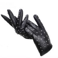 Rivets Genuine Leather Gloves Thin Warm Women's Winter Sheepskin Driving Mittens
