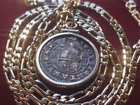 """1660's Spanish Maravedis Gold Filled Pendant on a 24"""" Gold Filled Link Chain."""