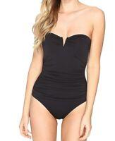 Tommy Bahama Womens Swimwear Black Size 10 Bandeau Plunge One Piece $130- 838