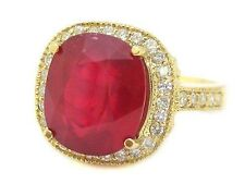 14K YELLOW GOLD 5.50CT CUSHION CUT RUBY AND ROUND CUT DIAMOND BRIDAL RING HALO