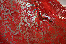 "Stunning Red Guipure Embroidery Lace Fabric 51"" Wide for Bridal Dress 1 Yard"