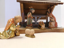 "ANRI ""Nativity Set Stable with 6, 3""  Vintg Ferrandiz Hand Carved Maple Figures"