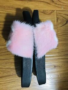 Pink White Real Mink Fur Slides Fur Slippers Flat Fur Sandals Fashion Shoes