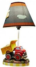 Truck Helicopter Theme Kids Table Lamp Hand Painted Details Non-Toxic Lead Free