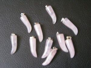 Rose Quartz Tooth  20mm Healing Crystal Gemstone Pendant Birthday Gift Of Love
