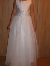 New White First Holy Communion Bridesmaid Party Girl Dress Age 10 - 11 Years.