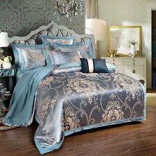 Silk Cotton Satin Jacquard Luxury Europe Bedding Set Cover Queen King Size 4pcs
