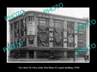OLD LARGE HISTORIC PHOTO OF NEW YORK NY, THE FIAT MOTOR Co REPAIR BUILDING c1910