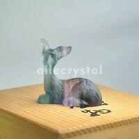 "2""Natural rainbow fluorite quartz carved crystal reiki healing fawn statue 1pc"