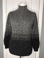 Tahari Black Grey Cable Knit Wool Blend Jumper Sweater Colour block Turtleneck M