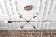 Modern Chandelier Chrome Nickel Geometric Lamp Sputnik Mid Century Hanging