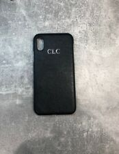 Black Pu Leather iPhone X/XS phone case Personalised With Name Or initials