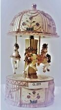GOLD AND CREAM 17CM 3 HORSE CAROUSEL TRINKET JEWELLERY BOX PLAYS EDELWEISS  BNIB