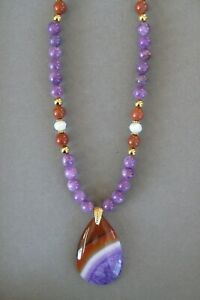 Pretty Orange and Purple Striped Teardrop Agate Pendant Necklace