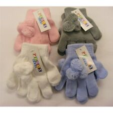 Toddler Girl Spanish Style Knitted Pom Pom Gloves 2-4 years Pink White Blue Grey