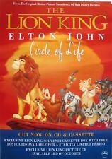 "ELTON JOHN ""THE LION KING - CIRCLE OF LIFE "" U.K. PROMO POSTER -Animals On Ledge"