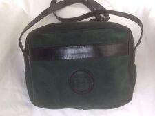 Bolso Vintage Verde De Piel 19x26 Correa Larga