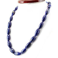 SINGLE STRAND 539.00 CTS NATURAL RICH BLUE LAPIS LAZULI UNTREATED BEADS NECKLACE