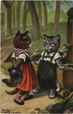 PC CPA ARTHUR THIELE, CATS IN HUMAN DRESS, ARTIST SIGNED (b25008)