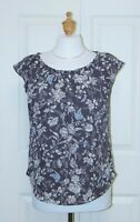LAUREN CONRAD Size XS NEW with Tags Floral Print Pleated Neck Cap Sleeve Blouse
