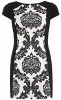 BRAND NEW DOROTHY PERKINS BLACK AND WHITE 50s BLOCK PRINTED DRESS SIZE 6 - 22