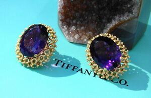 Tiffany & Co. 18kt Yellow Gold & GEM Amethyst Earrings, 44 Carats, RARE