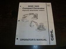 Original Gehl 503z 603 Compactmini Excavator Operators Manual