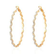 Big Circle Hoop Earrings Gold Plated Rhinestone Basketball Wives Bridal Jewelry