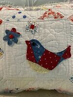 NEW Handmade Pillow Quilted Bird Flower Vintage Quilt Chenille Bedspread  Sweet!