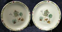 """Thomson Pottery Birdhouse Dinner Plates 10 1/4"""" Birds Red Hearts Set 2 Excellent"""